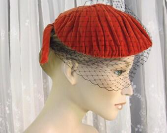 Vintage 50's women's red velvet hat with separate black veil