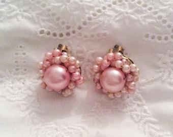 SALE Pink Pearl Cluster Earrings, Clip Ons, 1950s Vintage Jewelry SALE