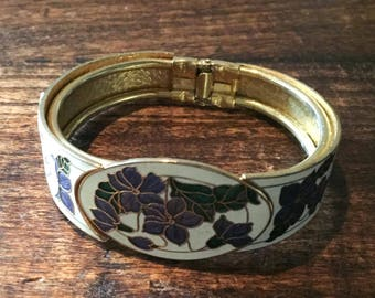 Enamel Clamper Bracelet, Bangle, Amethyst, Lavender, Green, 1970s Vintage Jewelry SUMMER SALE