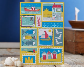 Coastal Patchwork blank greetings card designed by Jessica Hogarth. Coastal inspired greeting cards designed and printed in the UK. Art Card