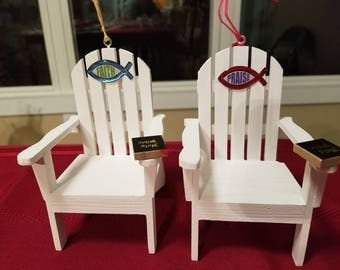 Religious, Easter Adirondack Chair Ornaments! Christian Ornaments, Faith and Praise Religious Ornaments with Holy Bible on each!
