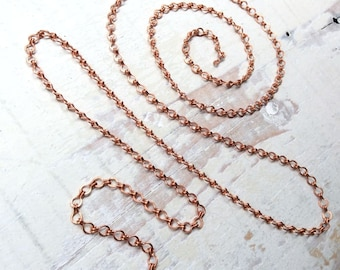 6ft Solid Copper Ladder Chain 4mm, Copper Cable Chain Flat Links Medium, Fancy Hammered Copper Chain