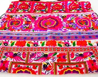 Big Purple Boho Hmong Hill Tribe Textile Bohemian Pom Pom Shoulder Bag