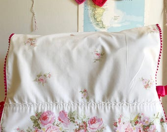 Vintage Pink Floral Pillowcase Sewing Machine Cover/ Dust Cover with Pink Poms + Ties