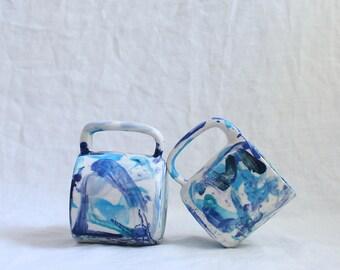 Blue Wacky Mug Blue Mug Porcelain Ready to Ship