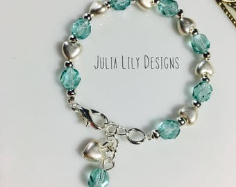 Beautiful Sparkling Birthstone Bracelet for Girls or Women, with Silver-toned Puffy Hearts, Gift Boxed