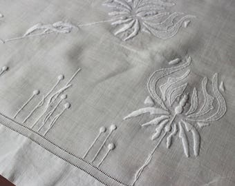 Vintage Linen Tablecloth White Embroidery Art Deco Nouveau Handmade Hand Embroidered