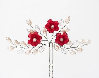 Bridal red flowers hair pin Silver hair pin crystal Pearls hair pin Wedding crystal pin Red hair pin Pearls wedding pin Red flowers 672