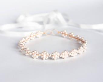White pearl tiara, Pearl flowers headband, Headband for bride, Wedding hair accessories, Ivory pearls tiara, Gold headband Wedding tiara 687