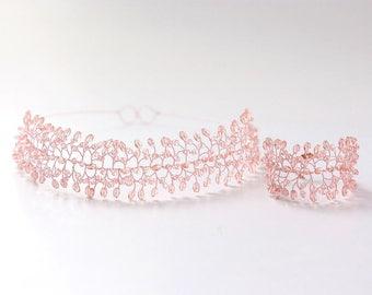 Rose gold wedding set, Pink headband and bracelet, Peach crystals bridal gift, Gold jewelry set, Wedding headband, Gold jewelry bracelet 733