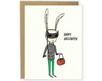 Happy Halloween Card - Masquerade Bunny, Rabbit, trick or treat, Halloween party, Halloween cards, kids Halloween, invite, invitation