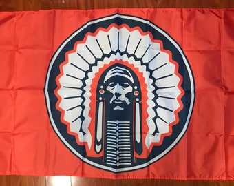 ORANGE Illinois Fighting Illini Chief Flag 3x5 feet MINT NEW grommets - banner