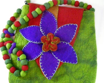 Fantastic Multicolor Hand Crafted Felted Wool Shoulder Bag Purse. Zippered. Lime Green with Red and Purple Accents. Made in Nepal. Boho.