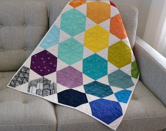 Rainbow Baby Quilt, Hexagon Baby Quilt, Modern Crib Quilt, Geometric Baby Quilt, Geometric Baby Bedding