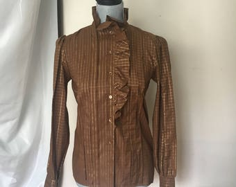 Yves Saint Laurent Rive Gauche brown gold grid Blouse size 36 Made in France