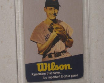 vintage ted williams wilson gloves card in a screwdown case