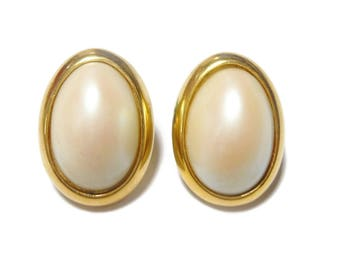 Richelieu pearl earrings, signed, gold and faux pearl pierced, wedding ready, bridal pearl earrings, oval cabochon studs, creamy white