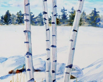 Original tree painting, White birches watercolor landscape, Winter snow wall art, 11x14 Impressionist painting on Yupo paper by Janet Zeh