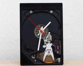 Desk clock - recycled Computer clock - hard drive - HDD clock - ready to ship - c8773
