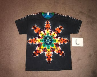 Tie Dye T-Shirt ~ Fire Mandala With Black Background ~ i_6075 in Adult Large