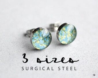 Van Gogh post earrings, Surgical steel studs, Floral stud, Tiny earring studs, Blossoming Almond trees stud earrings
