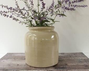Large French Vintage Stone Jar...Utensil Jar...Storage Jar....Kitchen Jar.