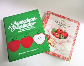 Vintage Cookbooks Set of 2 Junior League of Rochester Applehood & Motherpie For Goodness Taste Upstate New York Recipes