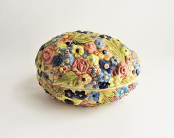 Vintage Egg Shaped Covered Candy Dish Trinket Box Floral Relief Bowl Multicolored Aqua Large Ceramic Box Easter Decor