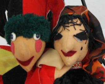 Vintage Hand Puppets Pair Punch and Judy Felt Gypsy/Joker