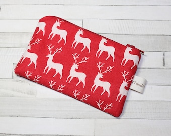 Coin purse, change purse, Christmas purse, Scandinavian print, red with reindeer