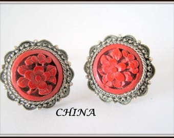 China Silver Earrings - Carved Cinnabar -  Art Deco Chinese Export - Screw Back