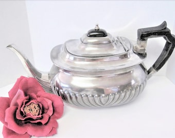 Art Deco Silverplate Teapot, Vintage Ribbed Front, Bakelite Top - Wood Handle Teapot