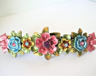 Floral Enamel Barrette, Rhinestone Hair Clip, 4 Inches Long, Flower For Your Hair