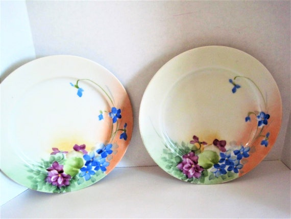 Hand Painted Nippon Plates, Set of 2,  Collectible Desserts, 6 inch Plates