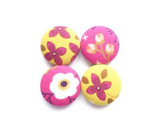 Flower Magnets, Floral Magnets, Yellow Magnets, Hot Pink Magnets, Gift for Her, Fridge Magnets, Refrigerator Magnets, Strong Magnets
