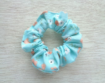 Floral Scrunchie, Flower Scrunchie, Turquoise Scrunchie, Orange Scrunchie, Boho Scrunchie, Hair Accessory, Hair Elastic, Gift For Women