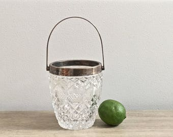 Small Vintage Ice Bucket Pressed Glass Silver Plated Trim Handled Barware French Apartment Decor