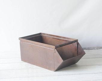 Vintage Metal Bin Medium Stackbin Vintage Metal Box Industrial Metal Decor #2