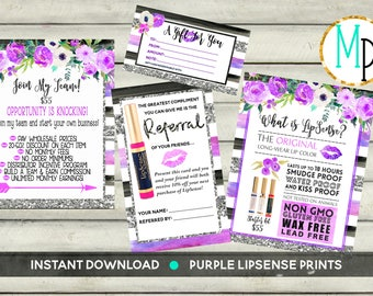 INSTANT DOWNLOAD LipSense Printables silver purple black watercolor Lipsense party bundle package party prints prices printables Senegence