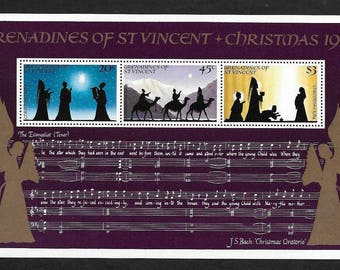 Christmas Vintage Postage Stamps - Souvenir Sheet J.S. Bach - Grenadines of St. Vincent - 1984 - Collectible, Ideal for Framing - MNH