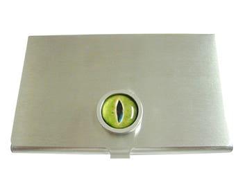 Bordered Green Reptile Eye Design Business Card Holder