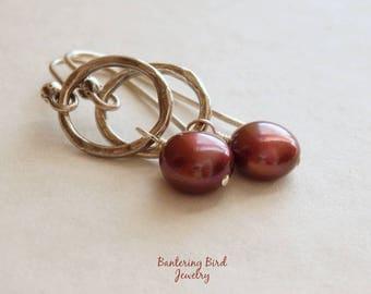 Burgundy Freshwater Pearl Earrings, Small Earrings, Textured Fine Silver Hoops, Oxidized Sterling Silver Jewelry