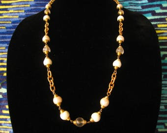"""CLEARANCE 30"""" Necklace made in the 1970-80s European Couture Chain Style.  Pearl, White & Frosted Clear Beads Ratchet up the Bling."""
