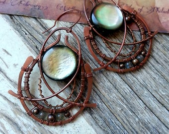 Mysterious Wire Wrapped Eastern earrings - Copper Statement Earrings - Greek Geometrical Earrings - Moth Wings - Ornate Bohemian Earrings