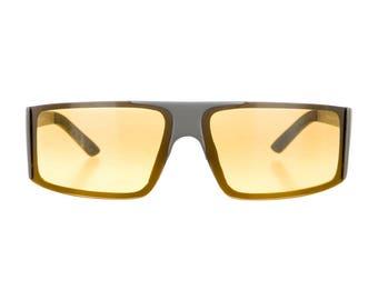 PRADA Sport Futuristic / Sci Fi / Athletic / Shield Yellow Orange Lens Speed Dealer Avant Garde 90s Vintage Sunglasses - So Rare!