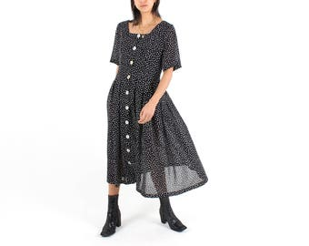90s Perfect Polkadot Loose / Relaxed Free Size Babydoll Button Up Midi / Maxi Tee Dress w/ Oversized Buttons