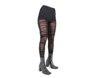 Y2K RUCHED / GATHERED / Excess Mesh Origami Avant Garde High Waist Skinny Stretch Tulle Leggings / Tights