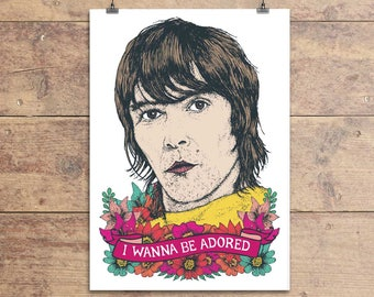 Ian Brown - The Stone Roses - I Wanna Be Adored - Greeting Card - Valentine's Day - Birthday Friendship Card