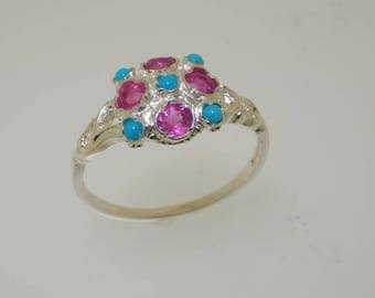 Ready to Ship! Victoriana Design 925 Solid Sterling Silver Natural Turquoise and Ruby Unique Cluster Ring - Finger Size 8.25