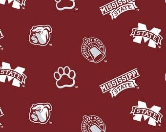Mississippi State University Cotton Fabric-School Colored Ground with Allover Logo Print-Sold by the Yard-
